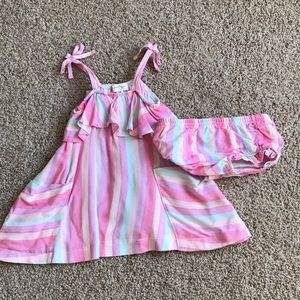 Jessica Simpson pink striped dress  6-9 month